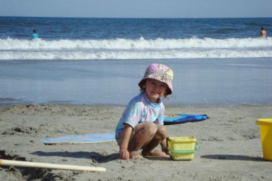 A kid playing at Radhanagar Beach
