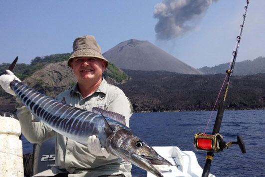 Captain Hooks Game Fishing in the backdrop of Barren Island