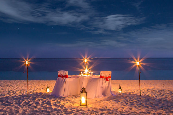 Candle light dinner at Havelock Beach